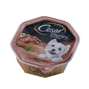 שימור לכלב סיזר קאנטרי הודו ובקר ברוטב 150 גר'