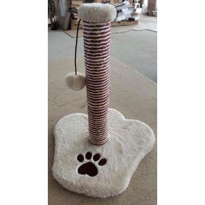 מגרדת עמוד לחתול כף רגל עם צעצוע - קרם