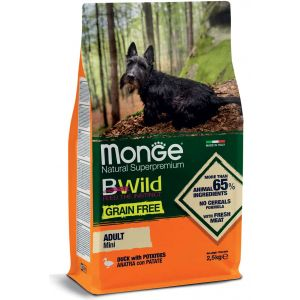 מונג' ביווילד ללא דגנים לכלב מגזע קטן - ברווז ותפו