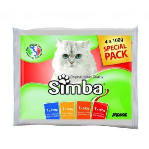סימבה לחתול מארז פאוצ'ים טעמים שונים 100X4 גרם