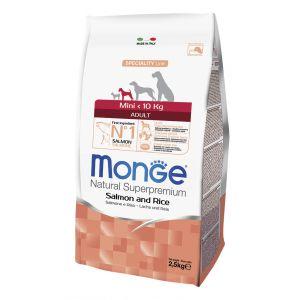 מונג' מיני לכלבים בוגרים סלמון ואורז 2.5 ק