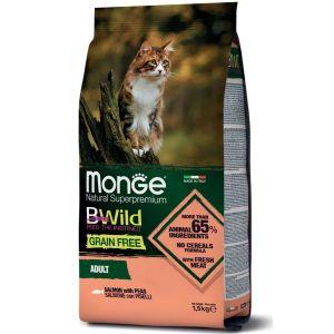 מונג' ביווילד ללא דגנים לחתול - סלמון ואפונה 1.5 ק
