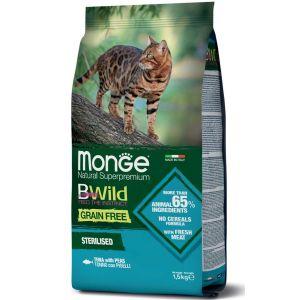מונג' ביווילד ללא דגנים לחתול - סטרלייזד טונה ואפונה 1.5 ק