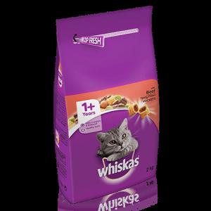 ויסקס מזון יבש לחתול בוגר בקר - Whiskas