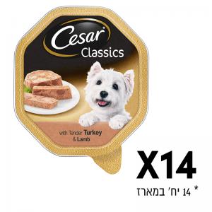 סיזר - מגש שימורים לכלב 14 יח' פטה כבש והודו - כל יח' 150 גר