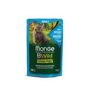 מונג' בי-ווילד פאוץ' ללא דגנים לחתול בוגר - אנשובי עם ירקות ברטוב עשיר - 85 גרם