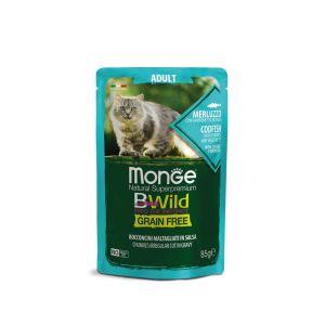 מונג' בי-ווילד פאוץ' ללא דגנים לחתול - דג קוד(בקלה) ברטוב עשיר - 85 גרם