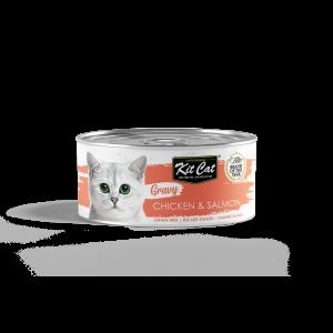קיט קט שימורים לחתול ברוטב עם עוף וסלמון - 70 גרם