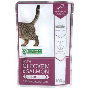 NP פאוץ' לחתול עוף וסלמון לעור ופרווה