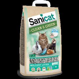 סניקט- מצע קלין אנד גרין לחתולים וחיות נוספות - 10 ליטר