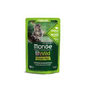 מונג' בי ווילד פאוץ' סטרילייז ללא דגנים לחתולים/ות לאחר סירוס/עיקור - חזיר בר ברטוב עשיר - 85 גרם