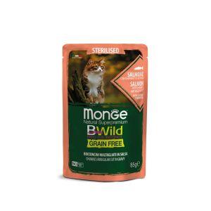 מונג' בי ווילד פאוץ' סטרילייז ללא דגנים לחתולים/ות לאחר סירוס/עיקור - סלמון ברטוב עשיר - 85 גרם