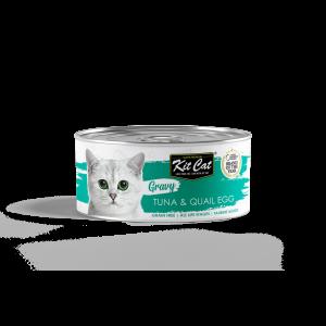 קיט קט שימורים לחתול ברוטב עם טונה וביצי שליו - 70 גרם