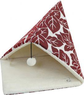 מיטה משולשת הדפס עלים אדום