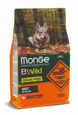 מונג' ביווילד ללא דגנים לכלבים בוגרים - ברווז ותפו
